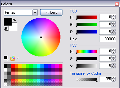 Paint.NET colour panel