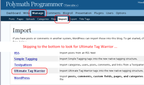 Managing Ultimate Tag Warrior import in WordPress