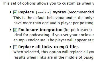 Audio Player options settings