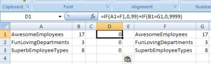 Table count comparison in Excel
