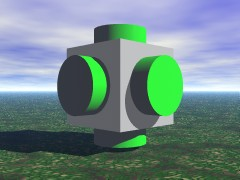 CSG cube with cylinders