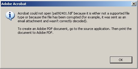 Adobe FDF error