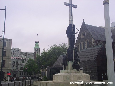 A big giant cross and statues