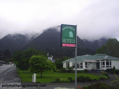 Rainforest Motel sign