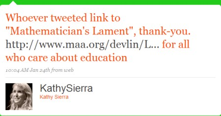 Mathematician's Lament tweet from Kathy Sierra