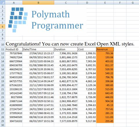 Styled Excel Open XML