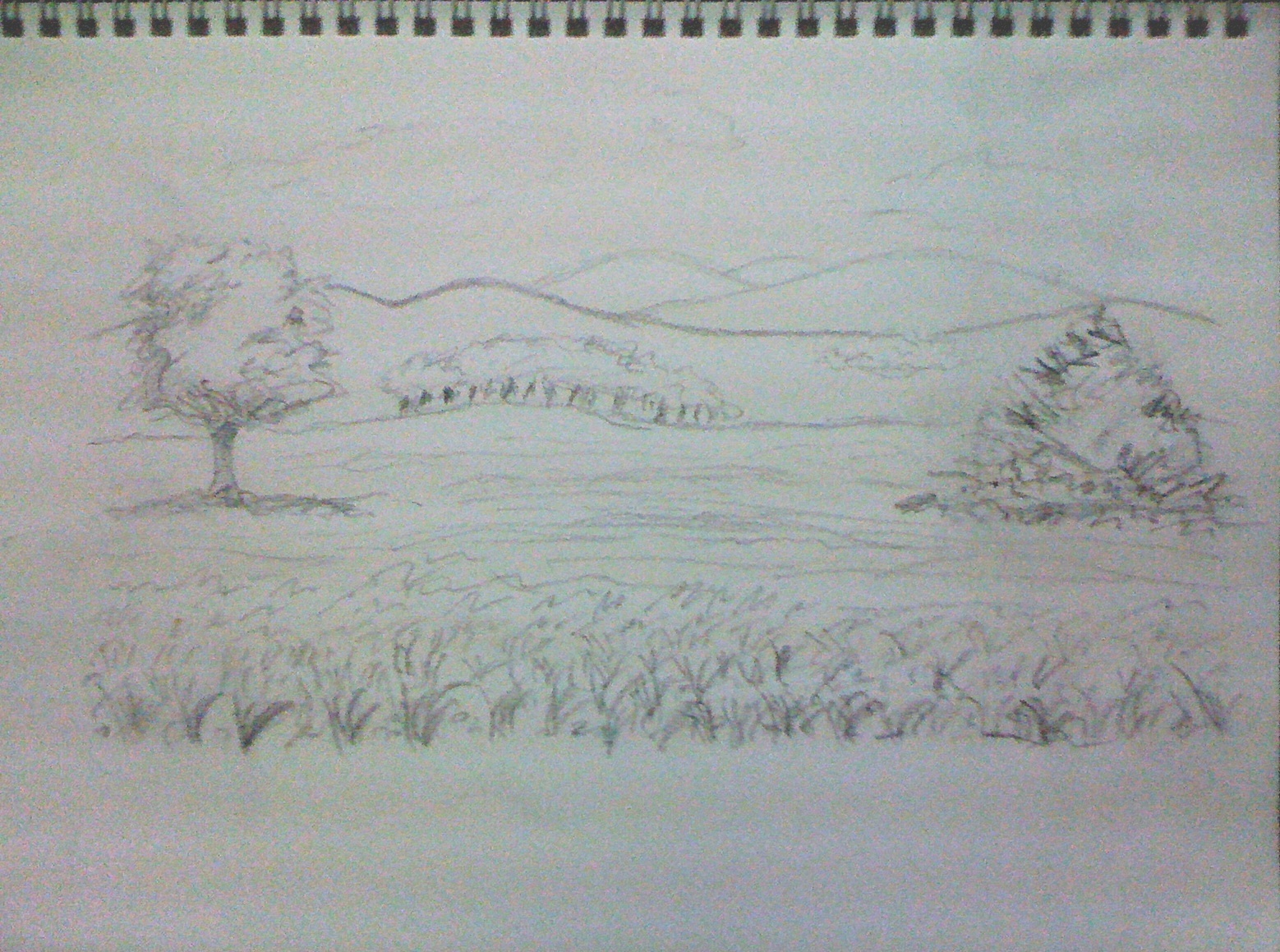 The gallery for easy charcoal drawing landscape for Landscape pencil sketches simple