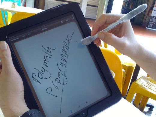 iPad and homemade stylus