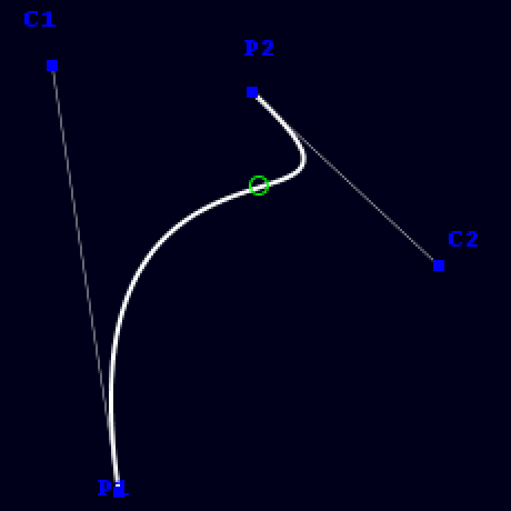 Bezier curve with one inflection point